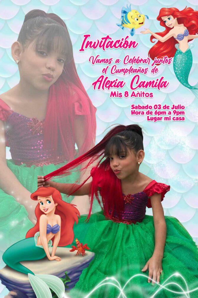 Tarjeta Invitacion Ariel sirenita Disney