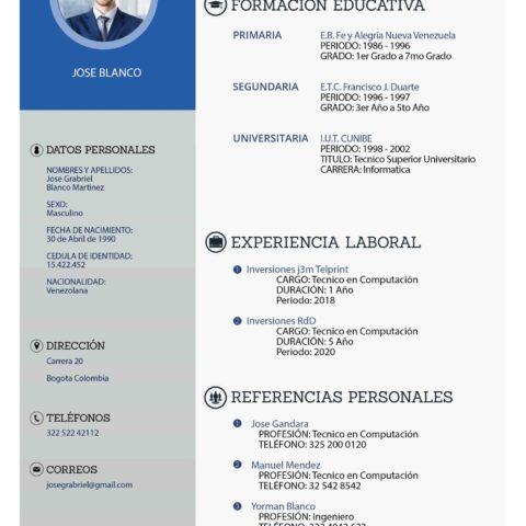Plantilla Curriculum Vitae PSD Editable