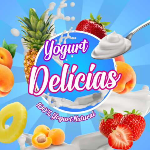 Plantilla Diseño Marca Yogurt PSD Editable