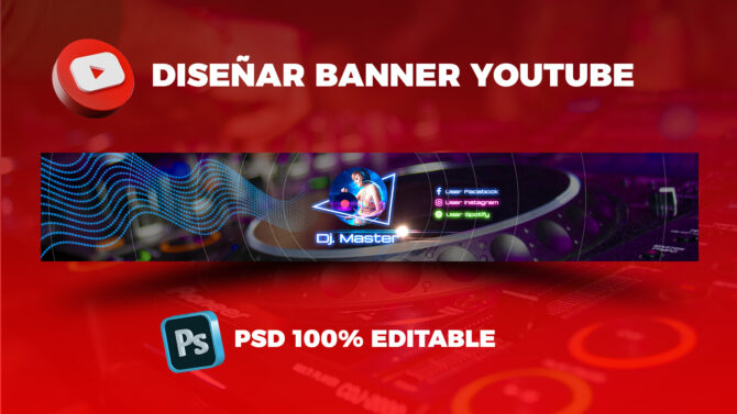 Plantilla PSD Banner de Youtube Dj Music