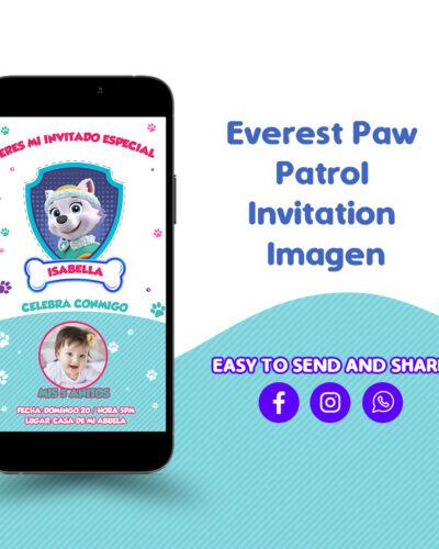 Everest Paw Patrol Invitation Card PSD Editable 100%